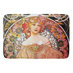 Alphonse Mucha Daydream Floral Vintage Art Nouveau Bath Mat at Zazzle