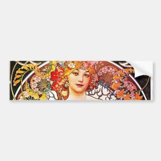 Alphonse Mucha Daydream Floral Vintage Art Nouveau Bumper Sticker