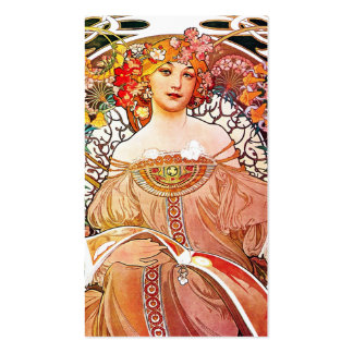 Alphonse Mucha Daydream Floral Vintage Art Nouveau Double-Sided Standard Business Cards (Pack Of 100)