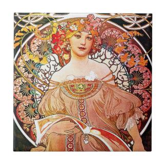 Alphonse Mucha Daydream Floral Vintage Art Nouveau Ceramic Tile