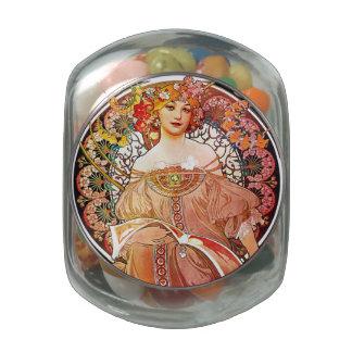 Alphonse Mucha Daydream Floral Vintage Art Nouveau Glass Candy Jars