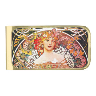 Alphonse Mucha Daydream Floral Vintage Art Nouveau Gold Finish Money Clip