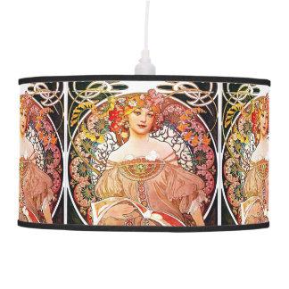 Alphonse Mucha Daydream Floral Vintage Art Nouveau Hanging Lamp
