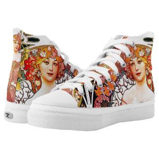Alphonse Mucha Daydream Floral Vintage Art Nouveau High-Top Sneakers