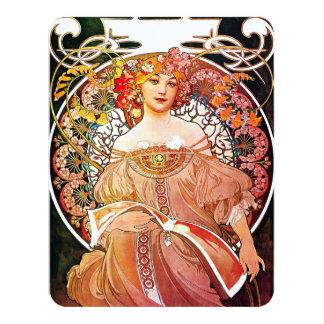 Alphonse Mucha Daydream Floral Vintage Art Nouveau 4.25x5.5 Paper Invitation Card