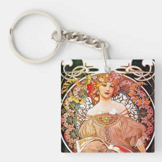 Alphonse Mucha Daydream Floral Vintage Art Nouveau Keychain