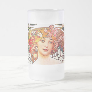 Alphonse Mucha Daydream Floral Vintage Art Nouveau 16 Oz Frosted Glass Beer Mug