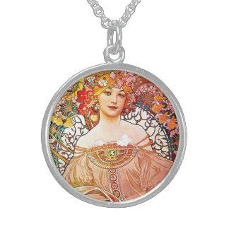 Alphonse Mucha Daydream Floral Vintage Art Nouveau Sterling Silver Necklaces