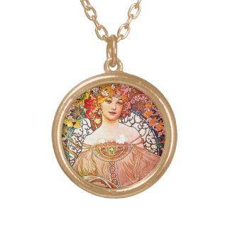 Alphonse Mucha Daydream Floral Vintage Art Nouveau Round Pendant Necklace