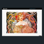 """Alphonse Mucha Daydream Floral Vintage Art Nouveau Skins For 15&quot; Laptops<br><div class=""""desc"""">Alphonse Mucha Daydream Reverie Art Nouveau Alfons Mucha, often known in English and French as Alphonse Mucha, was a Czech Art Nouveau painter and decorative artist, known best for his distinct style. He produced many paintings, illustrations, advertisements, postcards, and designs. Daydream features a beautiful dreamy-eyed woman holding a book. The...</div>"""