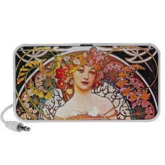 Alphonse Mucha Daydream Floral Vintage Art Nouveau iPhone Speaker