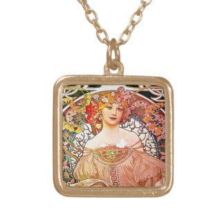 Alphonse Mucha Daydream Floral Vintage Art Nouveau Square Pendant Necklace