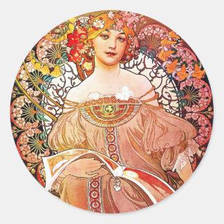 Alphonse Mucha Daydream Floral Vintage Art Nouveau Classic Round Sticker
