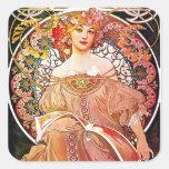 Alphonse Mucha Daydream Floral Vintage Art Nouveau Square Sticker
