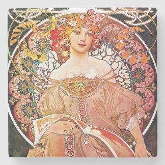 Alphonse Mucha Daydream Floral Vintage Art Nouveau Stone Coaster