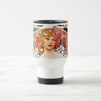 Alphonse Mucha Daydream Floral Vintage Art Nouveau Travel Mug