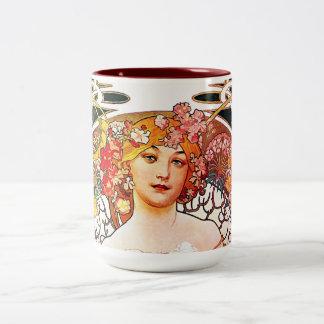 Alphonse Mucha Daydream Floral Vintage Art Nouveau Two-Tone Coffee Mug
