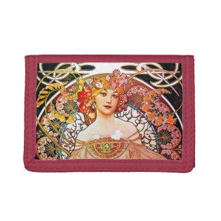 Alphonse Mucha Daydream Floral Vintage Art Nouveau Trifold Wallets
