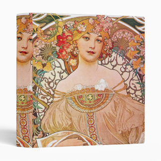 Alphonse Mucha Daydream Reverie Art Nouveau Lady 3 Ring Binders