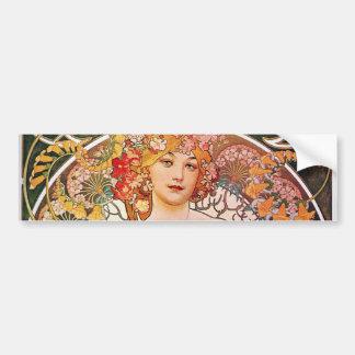Alphonse Mucha Daydream Reverie Art Nouveau Lady Bumper Sticker