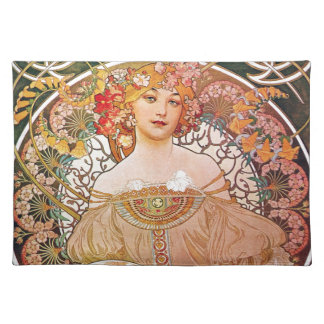 Alphonse Mucha Daydream Reverie Art Nouveau Lady Cloth Placemat