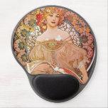 Alphonse Mucha Daydream Reverie Art Nouveau Lady Gel Mouse Pad