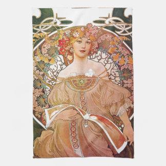 Alphonse Mucha Daydream Reverie Art Nouveau Lady Hand Towels