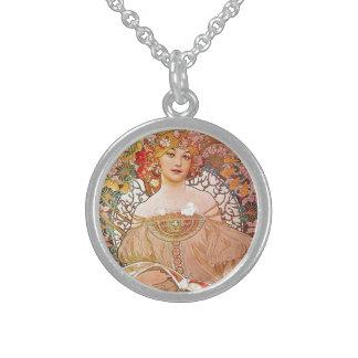 Alphonse Mucha Daydream Reverie Art Nouveau Lady Sterling Silver Necklace