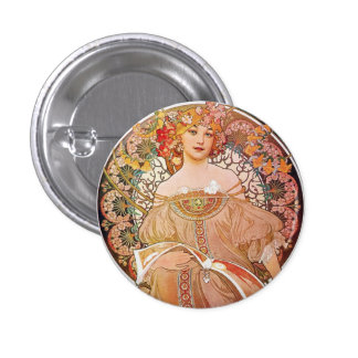 Alphonse Mucha Daydream Reverie Art Nouveau Lady Pinback Button