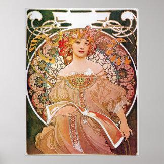 Alphonse Mucha Daydream Reverie Art Nouveau Lady Poster