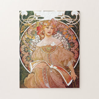 Alphonse Mucha Daydream Reverie Art Nouveau Lady Jigsaw Puzzles