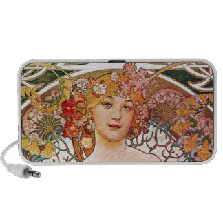 Alphonse Mucha Daydream Reverie Art Nouveau Lady Speaker