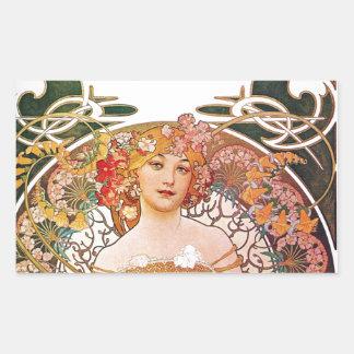 Alphonse Mucha Daydream Reverie Art Nouveau Lady Rectangular Sticker