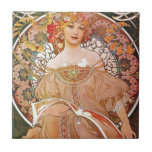 "Alphonse Mucha Daydream Reverie Art Nouveau Lady Tile<br><div class=""desc"">Alphonse Mucha: Daydream/Reverie (1896) A beautiful Art Nouveau Lady. Alfons Maria Mucha, often known in English and French as Alphonse Mucha, was a Czech Art Nouveau painter and decorative artist, known best for his distinct style. He produced many paintings, illustrations, advertisements, postcards, and designs. Mucha&#39;s work has continued to experience...</div>"
