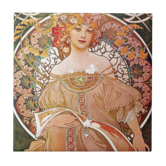Alphonse Mucha Daydream Reverie Art Nouveau Lady Tile
