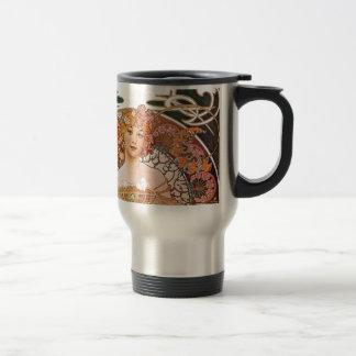 Alphonse Mucha Daydream Reverie Art Nouveau Lady Travel Mug