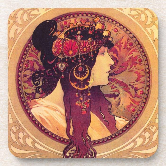 Alphonse Mucha Donna Orechini Coasters