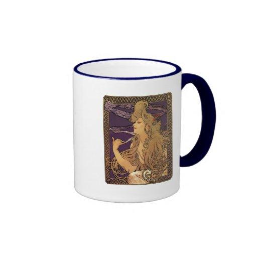 Alphonse Mucha Elegant Woman Artwork Ringer Coffee Mug
