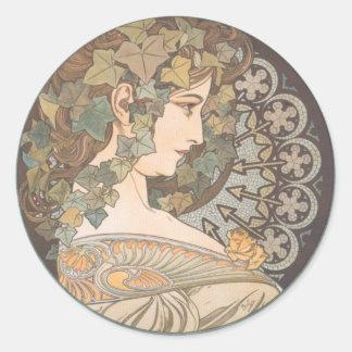 Alphonse Mucha - Erin Classic Round Sticker