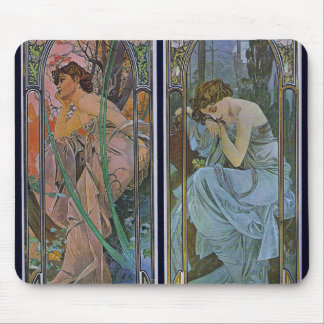 """Alphonse Mucha """"Evening and Nocturnal Slumber"""" Mouse Pad"""
