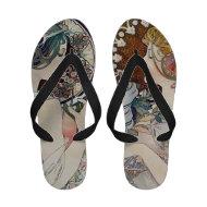 Alphonse Mucha Flip Flops Vintage