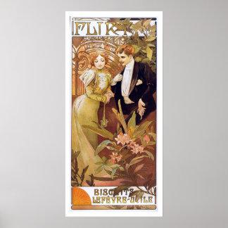 Alphonse Mucha. Flirt   Biscuits Lefevre Utile Print