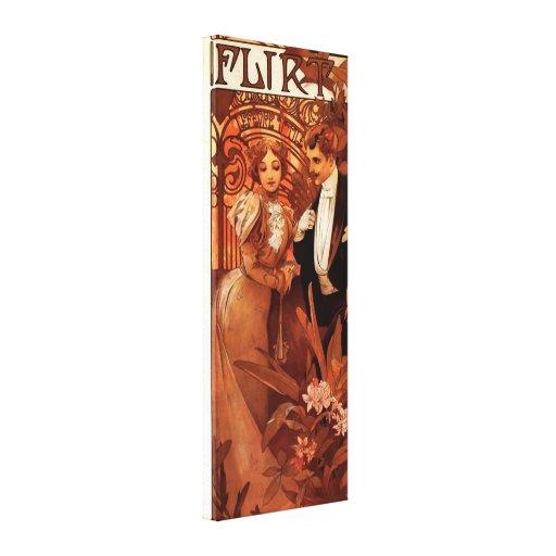 Alphonse Mucha Flirt Canvas Poster Stretched Canvas Print