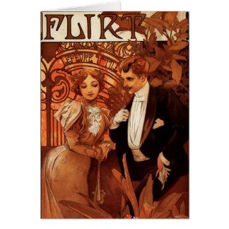 Alphonse Mucha Flirt Note Card