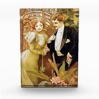 Alphonse Mucha Flirt Vintage Romantic Art Nouveau Acrylic Award