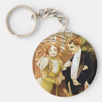 Alphonse Mucha Flirt Vintage Romantic Art Nouveau Basic Round Button Keychain