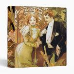Alphonse Mucha Flirt Vintage Romantic Art Nouveau 3 Ring Binders
