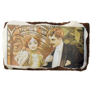 Alphonse Mucha Flirt Vintage Romantic Art Nouveau Brownie