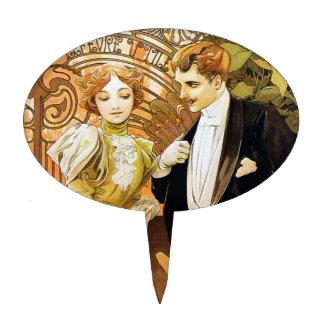 Alphonse Mucha Flirt Vintage Romantic Art Nouveau Cake Topper