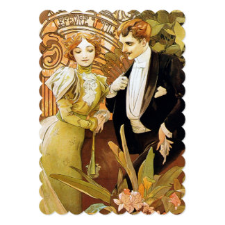 Alphonse Mucha Flirt Vintage Romantic Art Nouveau Card